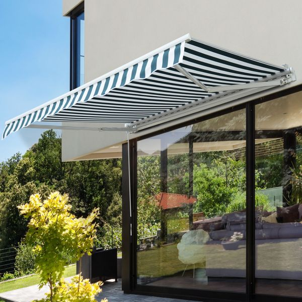 Outsunny Patio Awning 8.2'x6.6' Window Door Sunshade Shelter Water-resistant Manual Retractable Canopy Deck Green/White | Aosom Canada