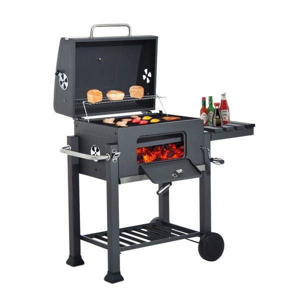 Outsunny Charcoal Grill BBQ Trolley Smoker Camping Picnic Portable Backyard Patio Cooking Stove with Side Shelf | Aosom Canada