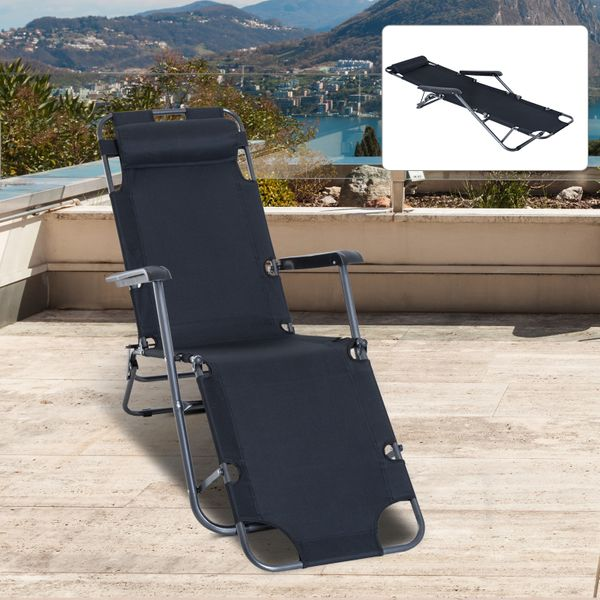 Outsunny Folding Chaise Lounge Chair Portable Adjustable Recliner Sun Lounger Outdoor Garden Reclining Seat with Pillow Black|Aosom.ca