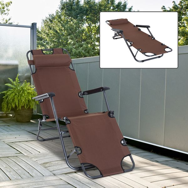 Outsunny Folding Chaise Lounge Chair Portable Adjustable Recliner Sun Lounger Outdoor Garden Backyard Reclining Seat with Pillow Brown   Aosom Canada