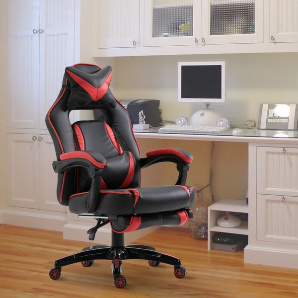 Vinsetto High Back Gaming Chair w/ Footrest Racing Bucket Seat Ergonomic Headrest and Lumbar Cushion Retractable Computer Support Chair Red | Aosom Canada