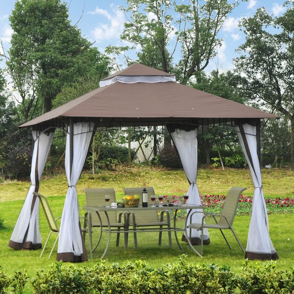 Outsunny Garden Gazebo Canopy w/ Mesh Sidewalls Outdoor Sunshade Tent 10x10ft Double Tier Water-Resistant Anti-UV Roof with Metal Frame and Double-Tier Party Screen | Aosom Canada