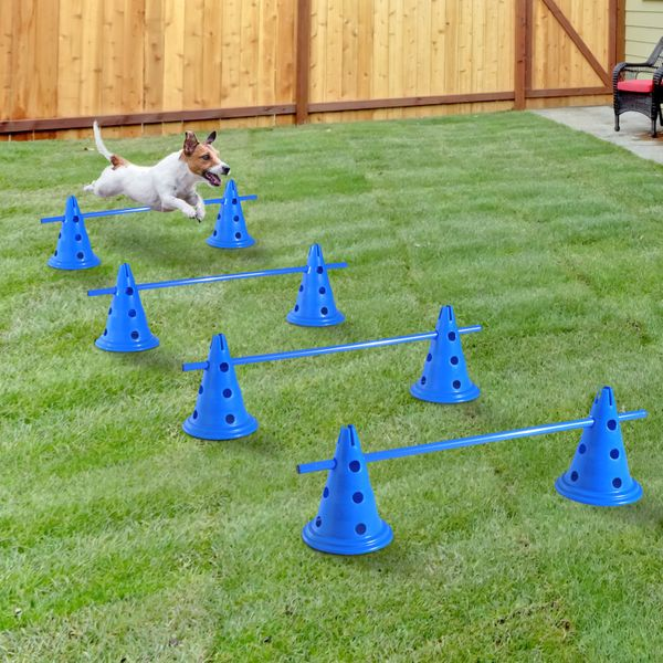 PawHut Set of 4 Dog Agility Hurdle Cone Set Agility Training Equipment 8 Cones 4 Rods Starter Kit with carrying bag Blue|Aosom Canada