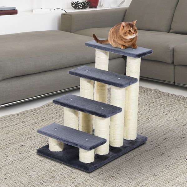 PawHut 4 Tier Pet Stairs Dog Cat 4 Steps Kitty Scatching Post Cat Scratch Furniture Dark Grey|Aosom Canada