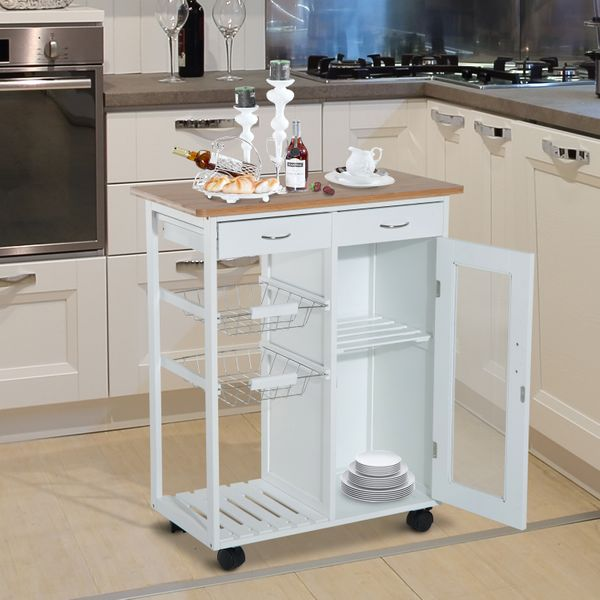 """HOMCOM 34"""" Rolling Kitchen Trolley with Drawer and Cabinet Serving Cart Bamboo Top Wood Wheeled Storage Island White 