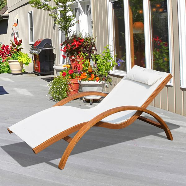 Outsunny Outdoor Wood Sling Chaise Lounge Reclining Garden Mesh Lounger Patio Chair with Headrest Cream|Aosom.ca