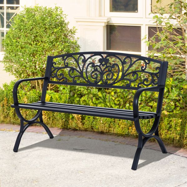 "Outsunny 50"" Patio Porch Loveseat Cast Iron Outdoor Bench Black