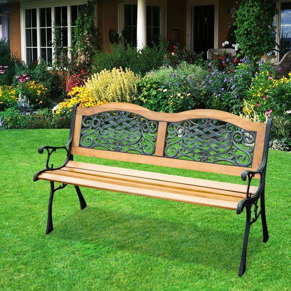 "Outsunny 50"" Porch Park Chair Garden Bench Cast Iron Hardwood Outdoor Loveseat 