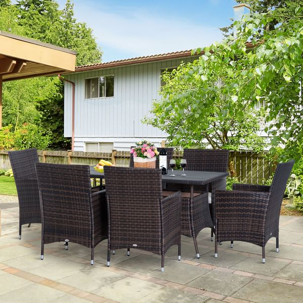 Outsunny 7 Piece Wicker Dining Table Outdoor Backyard Patio Garden Wicker Furniture Slatted top Deck Brown|Aosom Canada