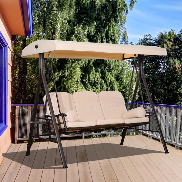 Outsunny 3 Seater Heavy Duty Swing Chair Outdoor Lounge Hammock Cushioned Seat W/ Tilt Canopy