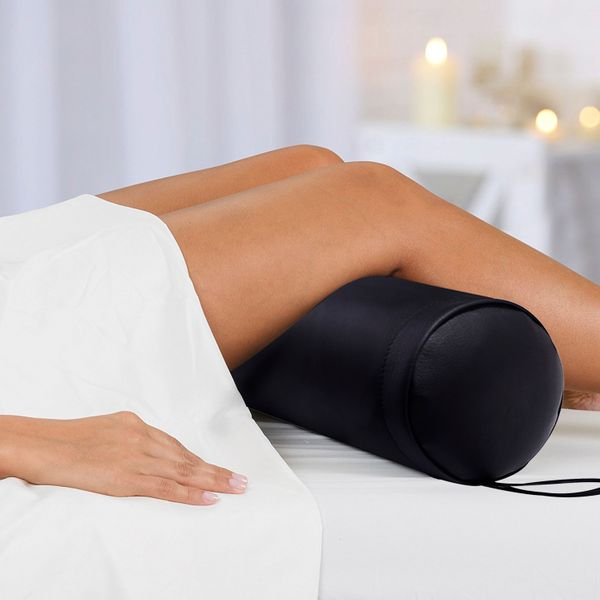 Soozier Bolster Pillow Full Round Spa Massage Bolster Back Pain Relief with Strap Handle Black|Aosom.ca
