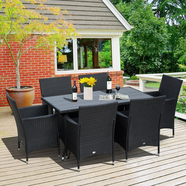 Outsunny 7 Pieces Wicker Rattan Dining Set Garden Furniture Slat Top Table Backyard Outdoor Patio and Chair Black|Aosom Canada