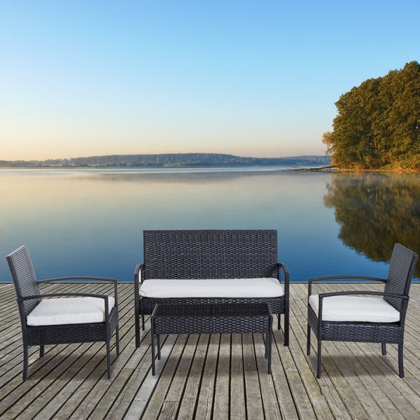 Outsunny Outdoor Table and Chair Set 4Pcs Rattan Wicker Conversation Set Garden Sofa All Weather Cushioned Seat | Aosom Canada