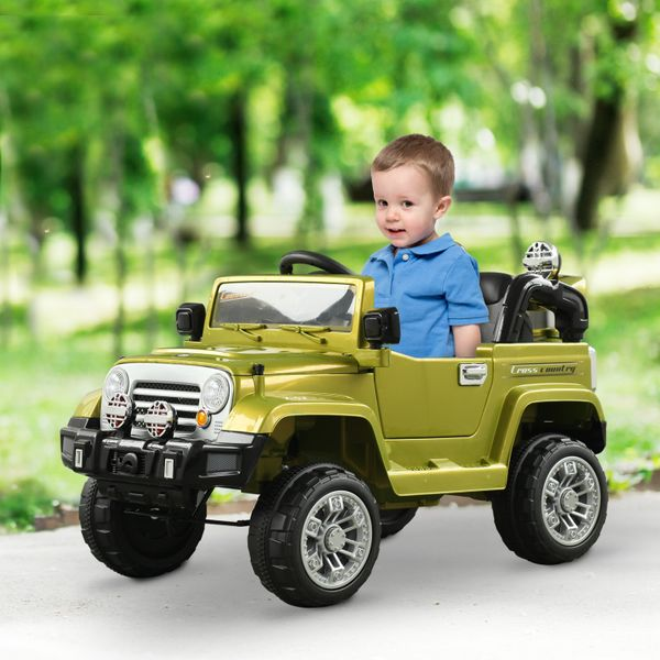 Aosom 12V Kids Electric Ride On Toy Truck Jeep Car with 2 Speed Lights MP3 LCD Indicator and Remote Control Green|Aosom Canada