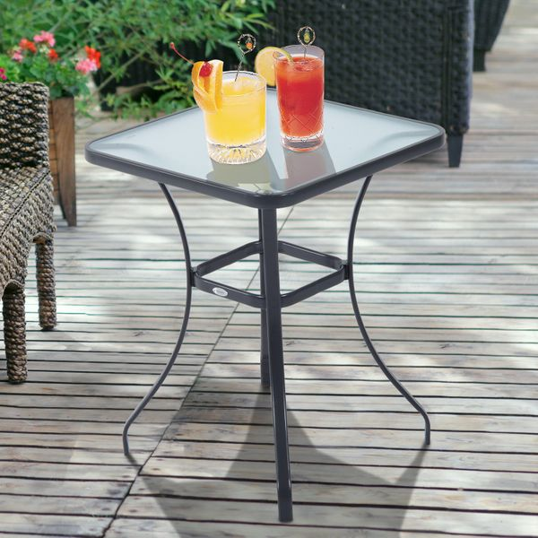 "Outsunny 27"" Patio Square Table with Tempered Glass Top Outdoor Dining Bar Table Steel Backyard Bistro Table Steel Frame
