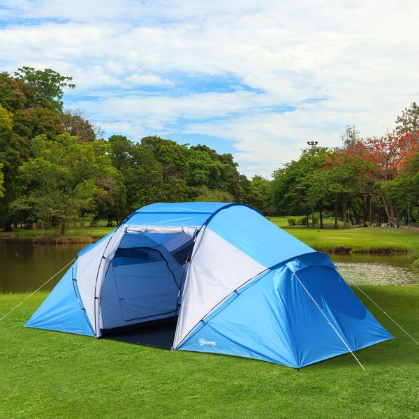 Outsunny Sport Camping Tent 2000mm Waterproof Instant Dome Tent Blue & White|Aosom.ca