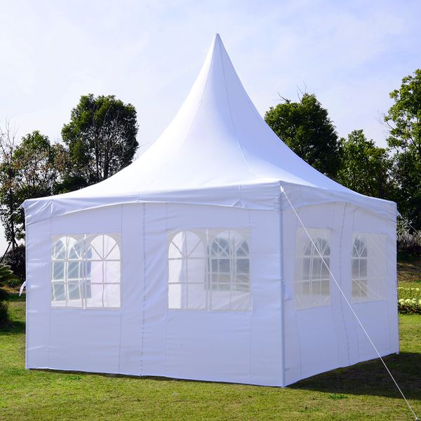 Outsunny 13x13ft Pagoda Party Tent with Removable Sidewalls Patio Wedding Canopy White|Aosom.ca