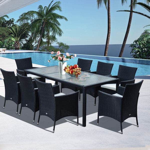 Outsunny 9pcs Garden Rattan Dining Set 8 Armchair 1 Table Cushioned Seat Outdoor All Weather Sectional Patio Wicker Furniture Black|Aosom Canada