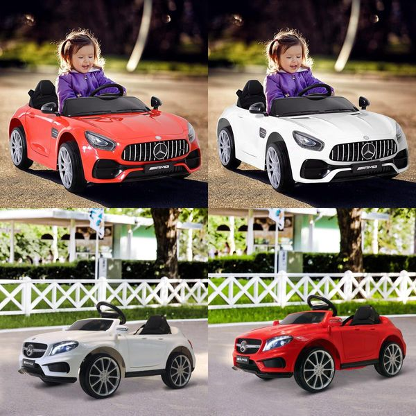 Qaba 6V Ride on Car Kids Licensed Mercedes Benz Ride On Car High/Low Speed Headlight Music Red | Aosom Canada