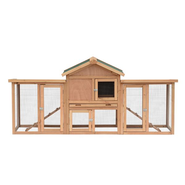 """Pawhut 82"""" Wooden Backyard Hen House Chicken Coop 80""""×33.5""""×37"""" Outdoor Garden Deluxe Poultry Hens Nesting Boxes Run Large 80-inch Large w/ Box 