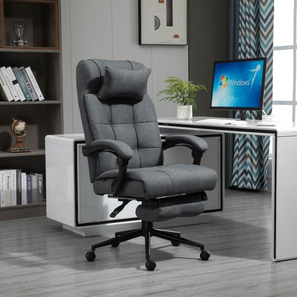 Vinsetto Executive Linen-Feel Fabric Office Chair High Back Swivel Task Chair with Upholstered Retractable Footrest, Headrest and Padded Armrest, Dark Grey Reclining Rolling Footrest   Aosom Canada