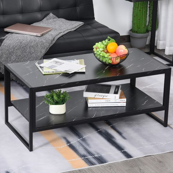 HOMCOM Minimalist Particle Board Coffee Table Modern Marble Texture End/Side Table with Extra Storage Shelf for Living Room Bedroom Dorm Black Metal Base | Aosom Canada