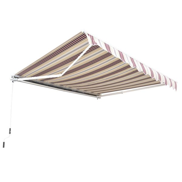 Outsunny 13'x8' Manual Retractable Patio Awning Red|AOSOM.CA