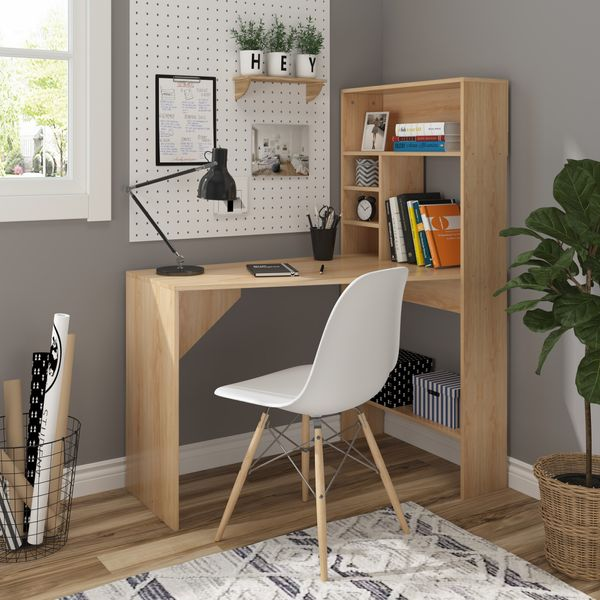 HOMCOM Nordic Style Wooden Computer Desk Workstation PC Laptop Writing Table with Hutches Storage Shelf Oak Home Study Color   Aosom Canada