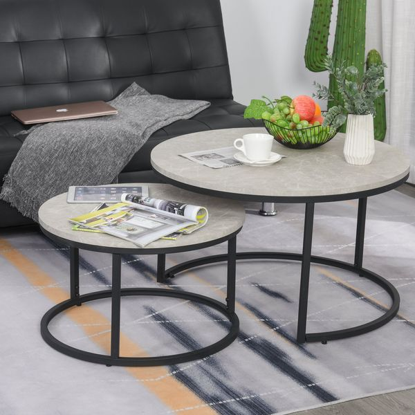 HOMCOM 2 Piece Coffee Tea Table Set with a Modern Elegance Style Multipurpose Usage and Stack Design End Side Table with Metal Base for Living Room Bedroom Office Versatile | Aosom Canada