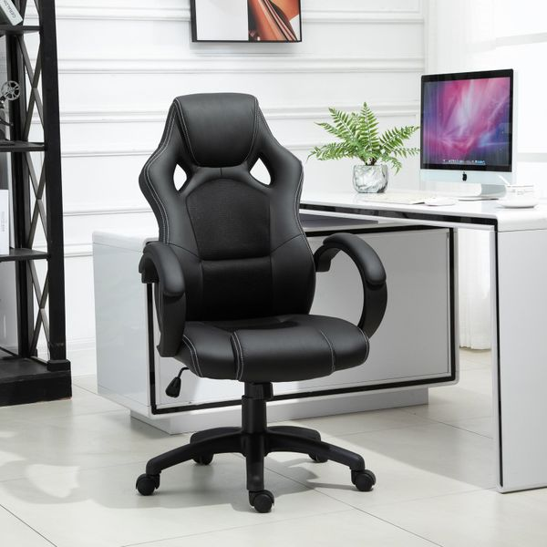 "HomCom Racing Chair 46.5"" Home Office Racecar Styled High Back Leather Executive Swivel Hydraulic Computer Game Seat Black 