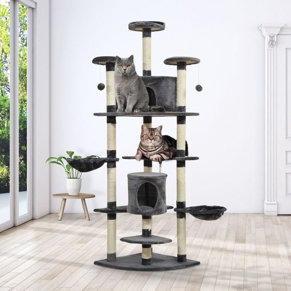 "PawHut Scratching Cat Tree Luxury 79"" Kitty Condo Multi Level Activity Center Pet House with Toys Dark Grey 
