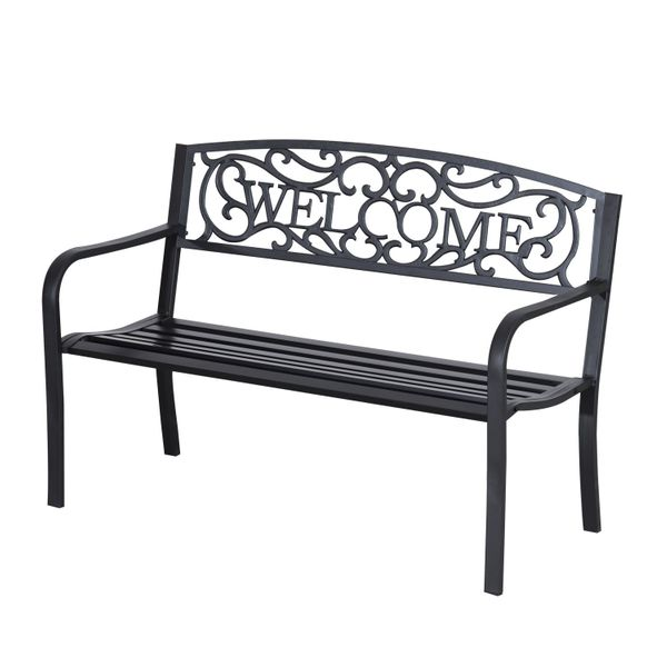 "Outsunny 50"" Steel 2 Seat Garden Bench Patio Decorative Chair Metal Backyard Seater Outdoor Furniture, Black 