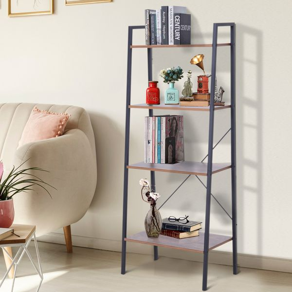 HOMCOM 4-Tier Vintage Ladder Shelf Bookcase Storage Rack Home Office Organizer with Open Display Shelf|Aosom Canada