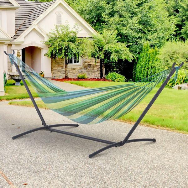 Outsunny Hammock Stand Adjustable Universal Fit Garden Camping Picnic Simple Set Up | Aosom Canada