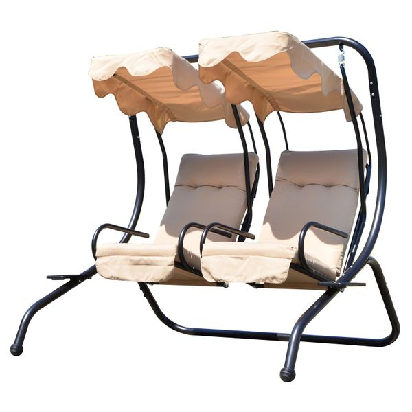 Outsunny Luxury Metal Swing Chair 2 Separated Seater Hammock Heavy-Duty with Canopy and Cushions, Beige|Aosom.ca