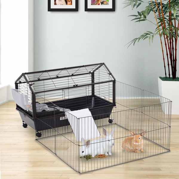 PawHut High Quality Metal Penny Cage Main House W/ wheels and brakes Foldable Large Run Black   Aosom Canada