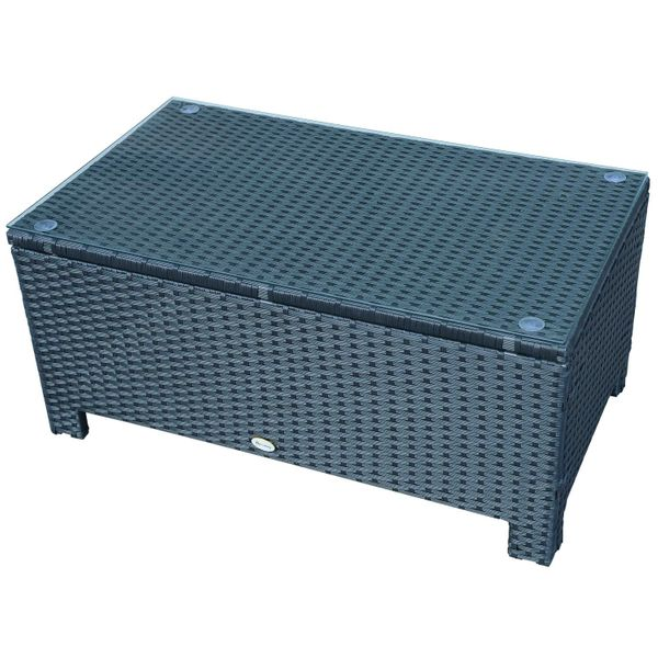 Outsunny Rattan Wicker Coffee Table with Glass Top Outdoor Garden Patio Furniture Black|Aosom.ca