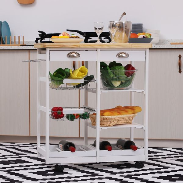 HOMCOM Rolling Kitchen Island Trolley Serving Cart Wheeled Storage Cabinet w/ Basket Shelves and Drawers White