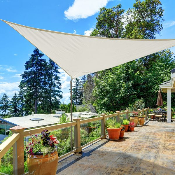 Outsunny Triangle 13'x13'x13' Sun Shade Sail UV Block Sunshade Outdoor Cream | Aosom Canada
