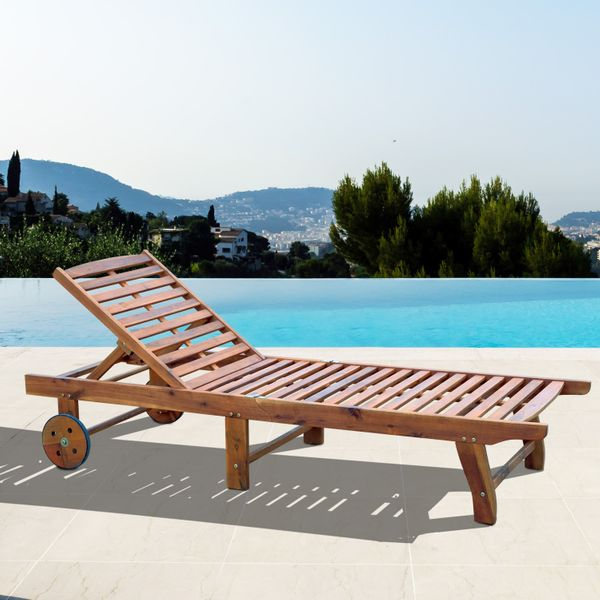 Outsunny Wood Outdoor Folding Chaise Lounge Chair Adjustable Folding Teak