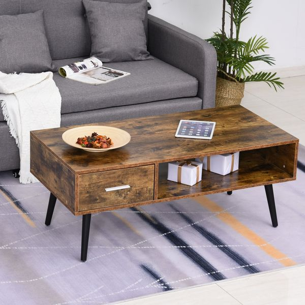 HOMCOM Retro Coffee Table with Storage Shelf and Drawer for Living Room, Vintage Wooden Sofa Side Table, Rustic Brown
