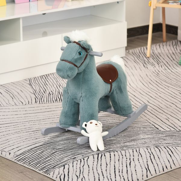Qaba Kids Plush Ride-On Rocking Horse Toy Dinosaur Ride on Rocker with Plush Toy Realistic Sounds for Child 18-36 Months Blue Sound Handle Grip | Aosom Canada