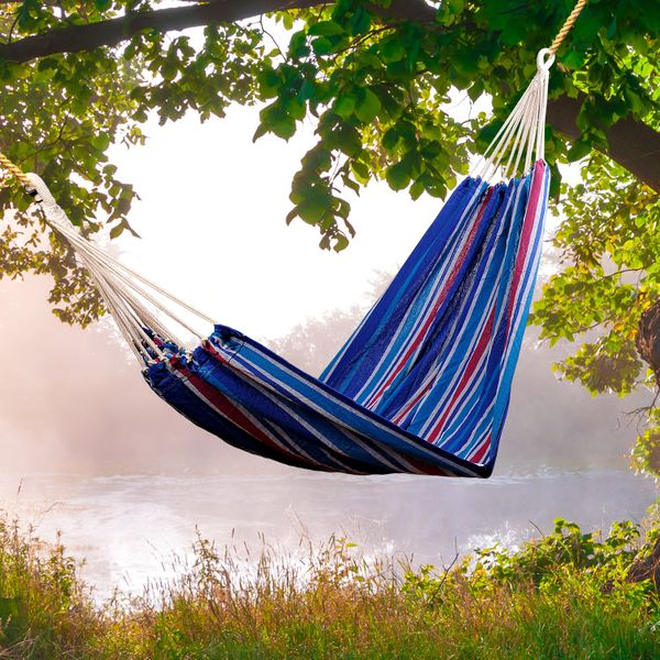 """Outsunny 83""""x59"""" Double Hammock Multifunctional Swing Bed Portable Travel Camping Hiking Outdoor Lounge Cotton Fabric