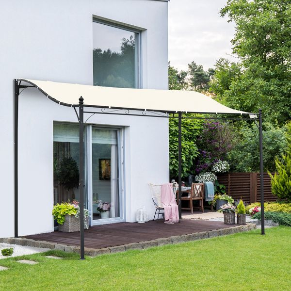 Outsunny 10'x10' Steel Gazebo Canopy Patio Outdoor Portable Sun Shelter Door Porch Cover Cream White | Aosom Canada