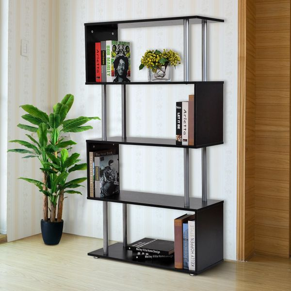 """HOMCOM 57"""" 4-Tires Wooden Bookcase S Shape Storage Display Steel Particle Board Unit Home Décor Black Aosom Canada"""