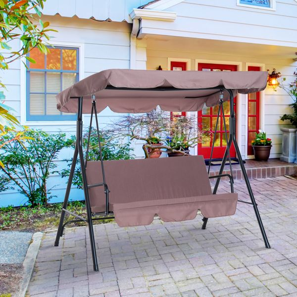 Outsunny Canopy Swing Metal 3 Seater Outdoor Patio Swing Cushioned Portable Garden Lounger Chair Hammock Frame and Glider Seat w/ Tile Brown  Aosom Canada