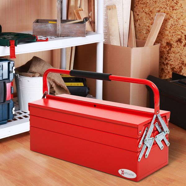 DURHAND Metal Tool Box Portable 5-Tray Cantilever Steel Tool Chest Cabinet, Red Toolbox 5 Tray Storage Organizer w/ Carry Handle | Aosom Canada
