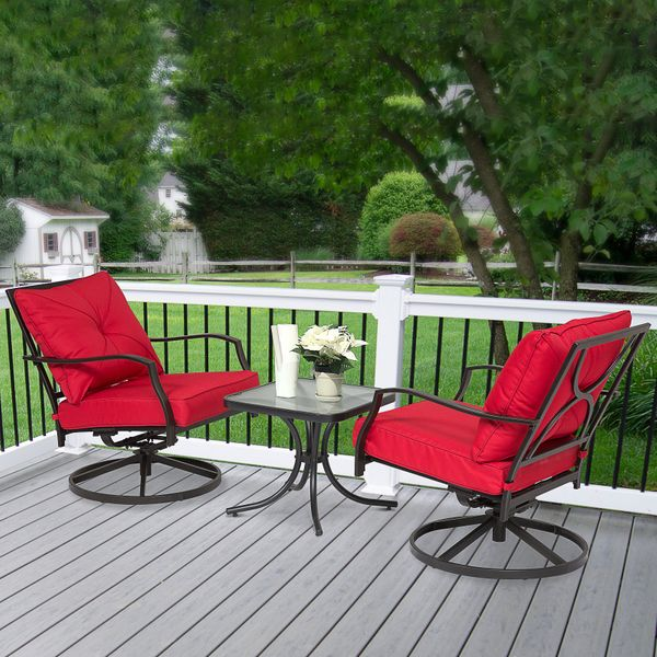 Outsunny 3PCs Outdoor Metal Toughened Glass Coffee Table 360° Swivel Rocking Chair Garden Rocker Red|AOSOM.CA