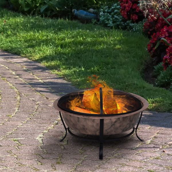 """Outsunny 35"""" Steel Round Outdoor Patio Fire Pit Wood Log Burning Heater Poker  Mesh Cover"""