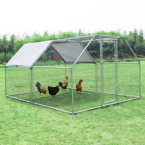 PawHut Outsunny Galvanized Chicken Cage Enclosure 2-Rooms Pet Playpen Backyard Coop With UV-Protection Water-Resist Cover   Aosom Canada